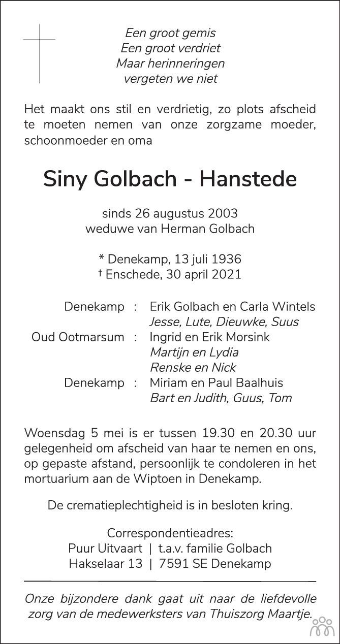 Overlijdensbericht van Siny Golbach-Hanstede in Tubantia