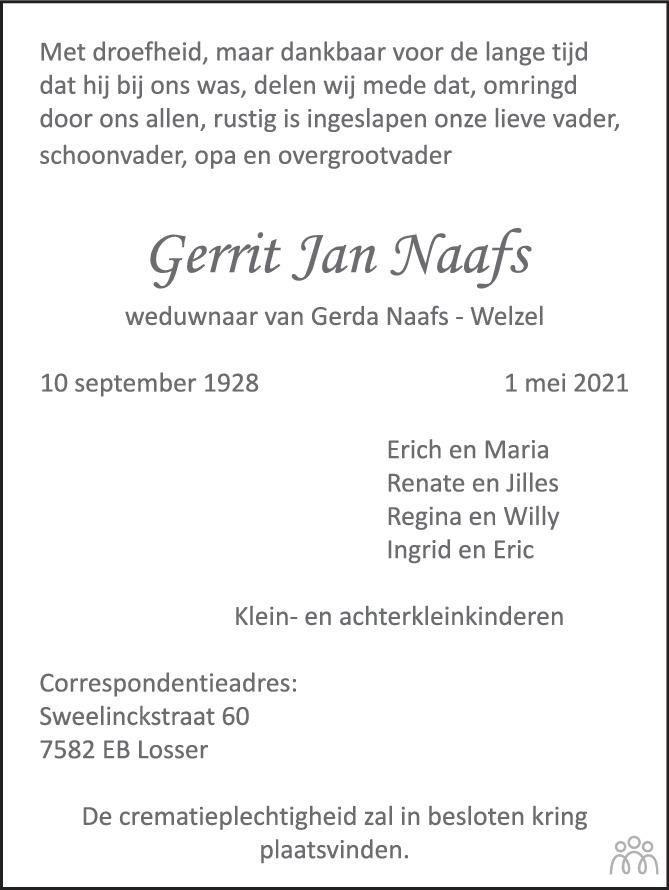 Overlijdensbericht van Gerrit Jan Naafs in Tubantia