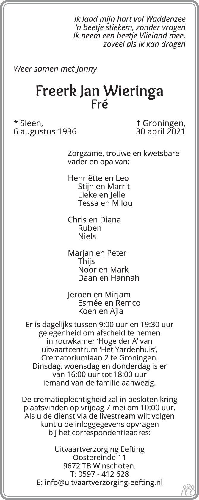 Overlijdensbericht van Freerk Jan (Fré) Wieringa in Trouw