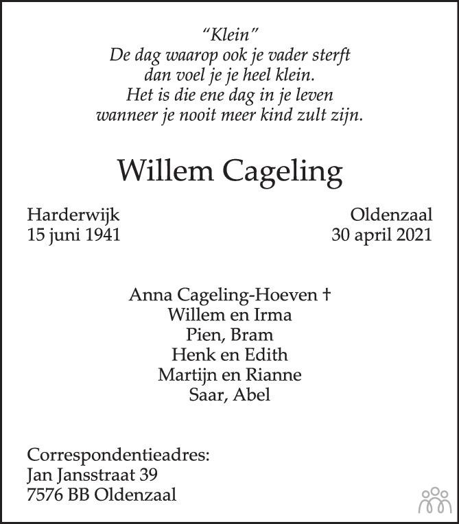 Overlijdensbericht van Willem Cageling in Tubantia