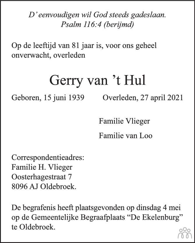 Overlijdensbericht van Gerry van 't Hul in Huis aan Huis Elburg Oldebroek Nunspeet