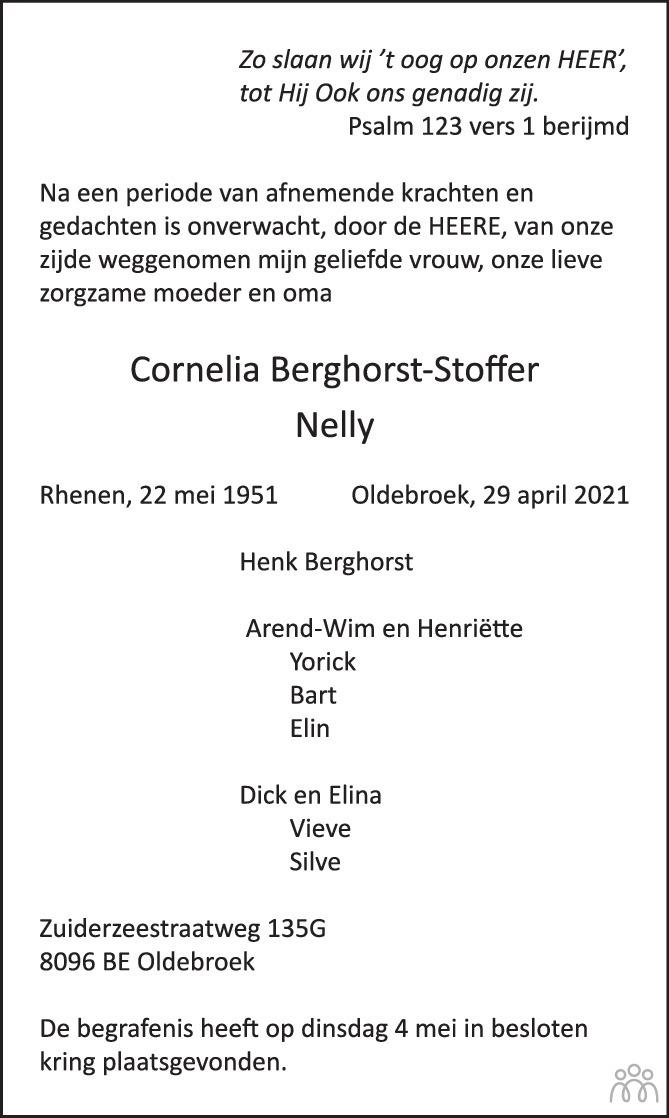 Overlijdensbericht van Cornelia (Nelly) Berghorst-Stoffer in Huis aan Huis Elburg Oldebroek Nunspeet