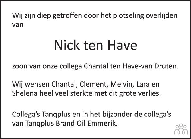 Overlijdensbericht van Nick ten Have in de Stentor