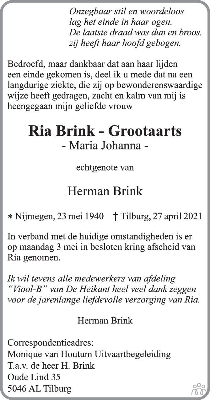 Overlijdensbericht van Ria (Maria Johanna) Brink-Grootaarts in Brabants Dagblad
