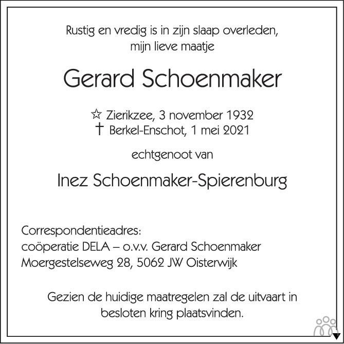 Overlijdensbericht van Gerard Schoenmaker in Brabants Dagblad