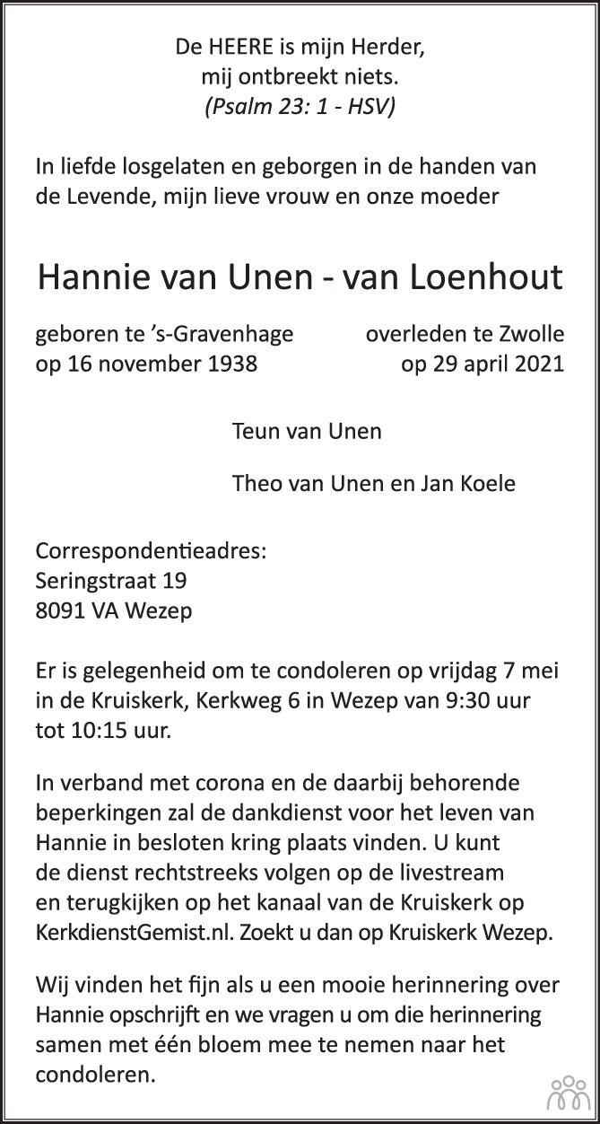 Overlijdensbericht van Hannie van Unen-van Loenhout in Huis aan Huis Elburg Oldebroek Nunspeet