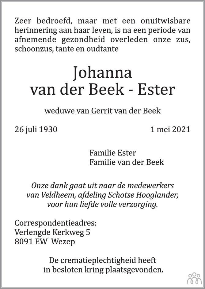 Overlijdensbericht van Johanna van der Beek-Ester in Huis aan Huis Elburg Oldebroek Nunspeet