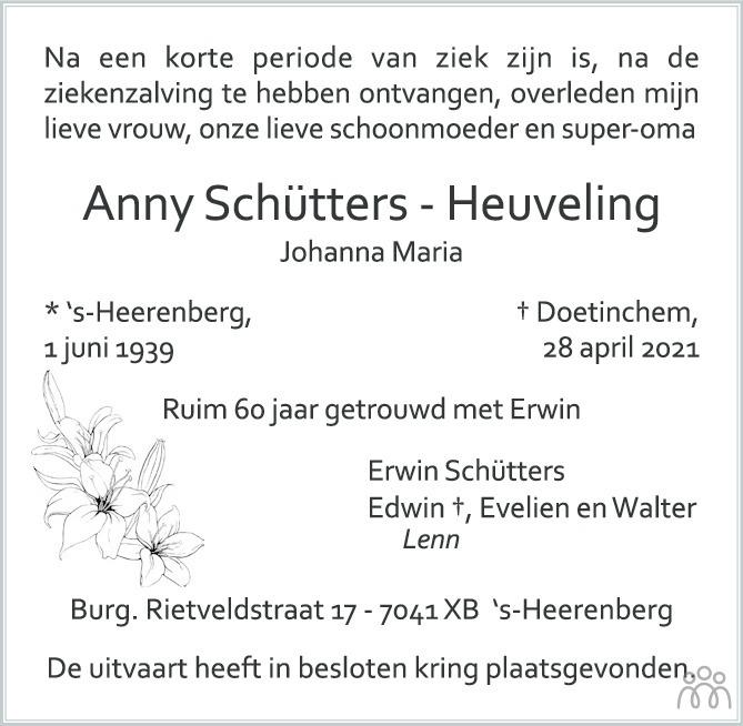 Overlijdensbericht van Anny (Johanna Maria) Schütters-Heuveling in Montfertland Journaal