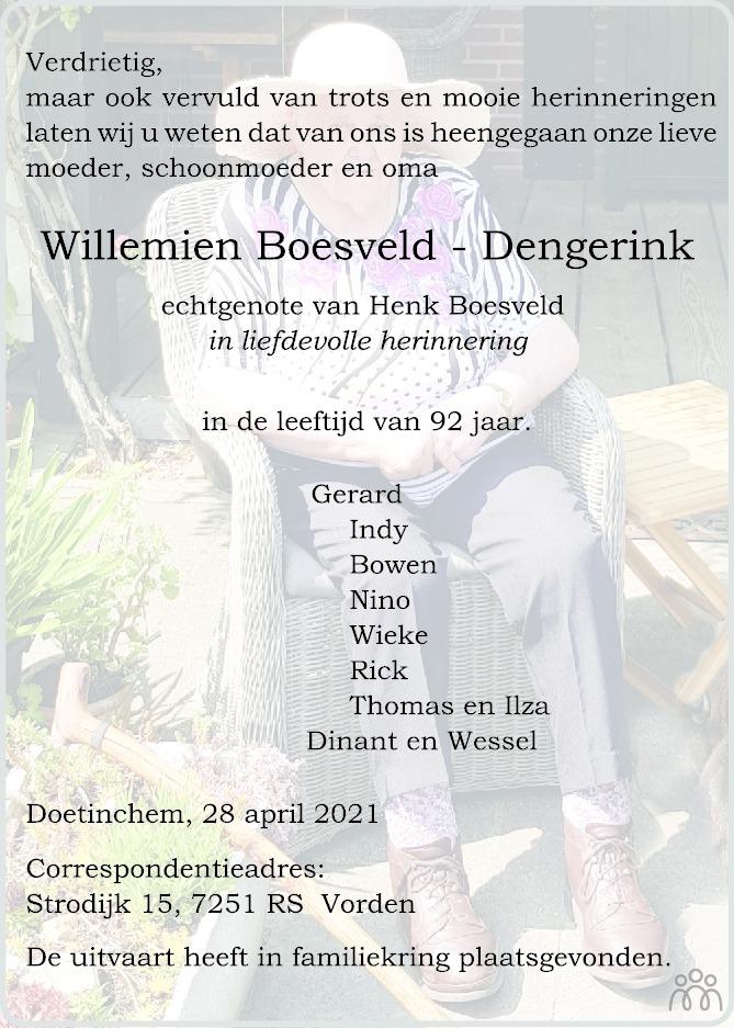 Overlijdensbericht van Willemien Boesveld-Dengerink in de Stentor