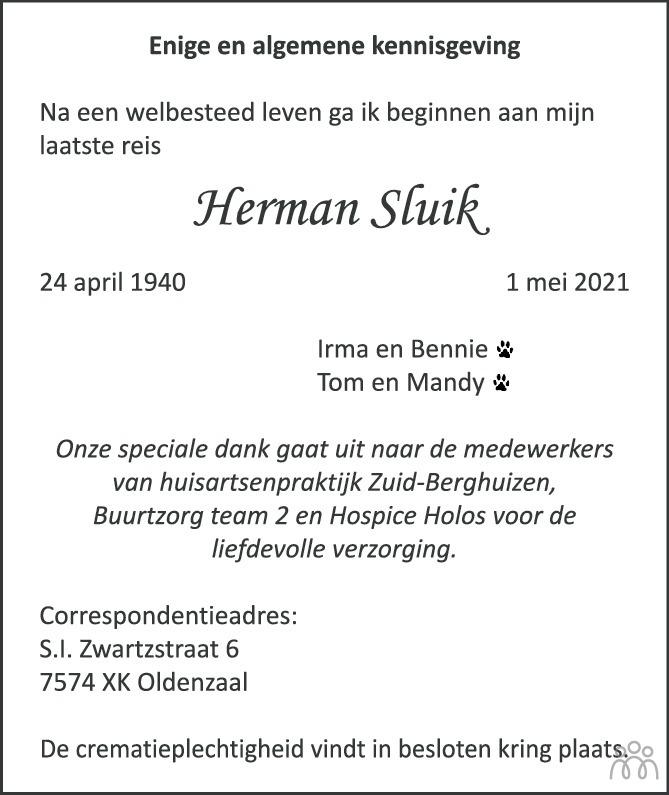 Overlijdensbericht van Herman Sluik in Tubantia