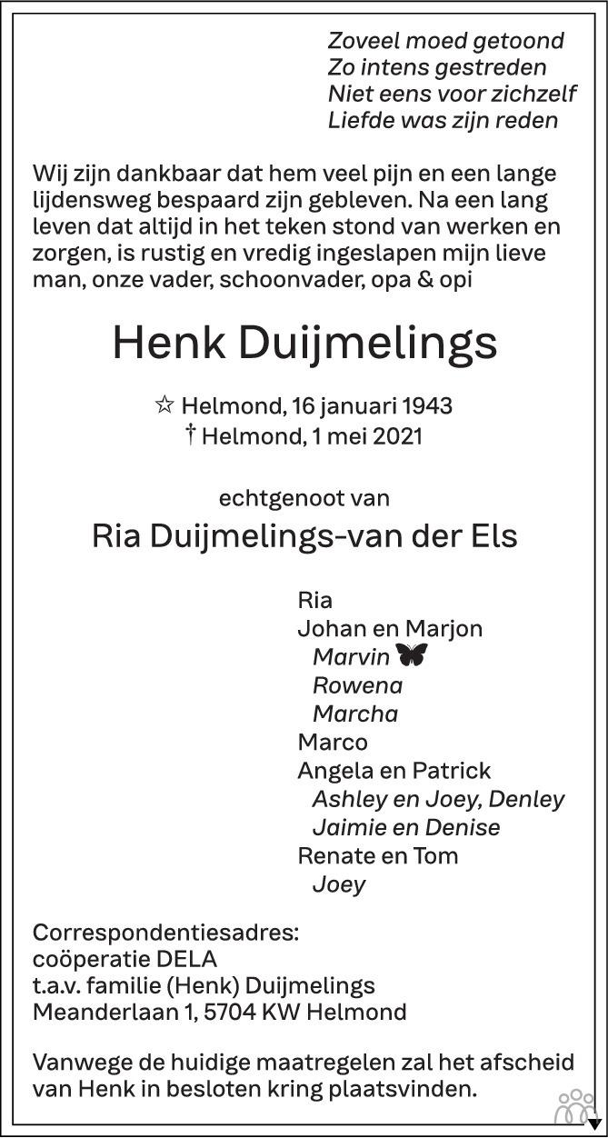Overlijdensbericht van Henk Duijmelings in Eindhovens Dagblad