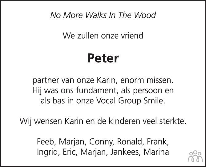Overlijdensbericht van Peter Geuze in PZC Provinciale Zeeuwse Courant