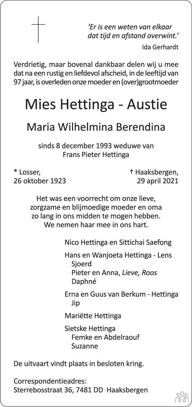 Overlijdensbericht van Mies (Maria Wilhelmina Berendina) Hettinga-Austie in Tubantia