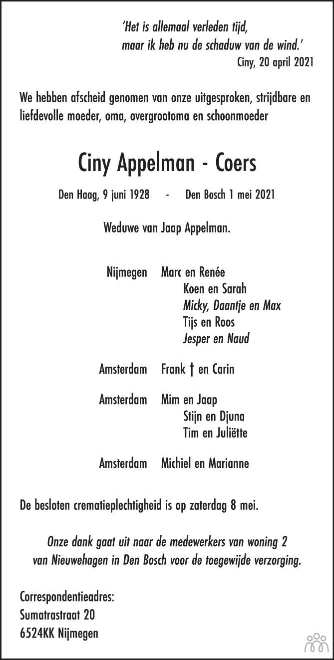Overlijdensbericht van Ciny Appelman-Coers in de Volkskrant