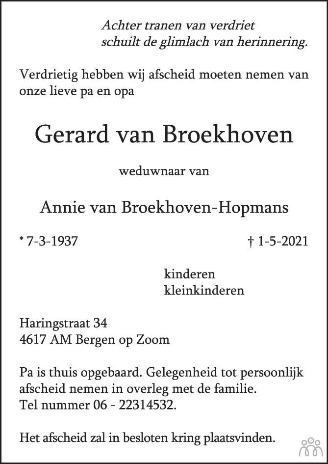 Overlijdensbericht van Gerard van Broekhoven in BN DeStem