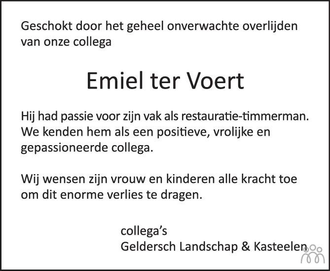 Overlijdensbericht van Emiel ter Voert in de Gelderlander