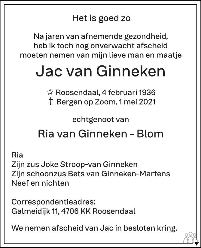Overlijdensbericht van Jac van Ginneken in BN DeStem