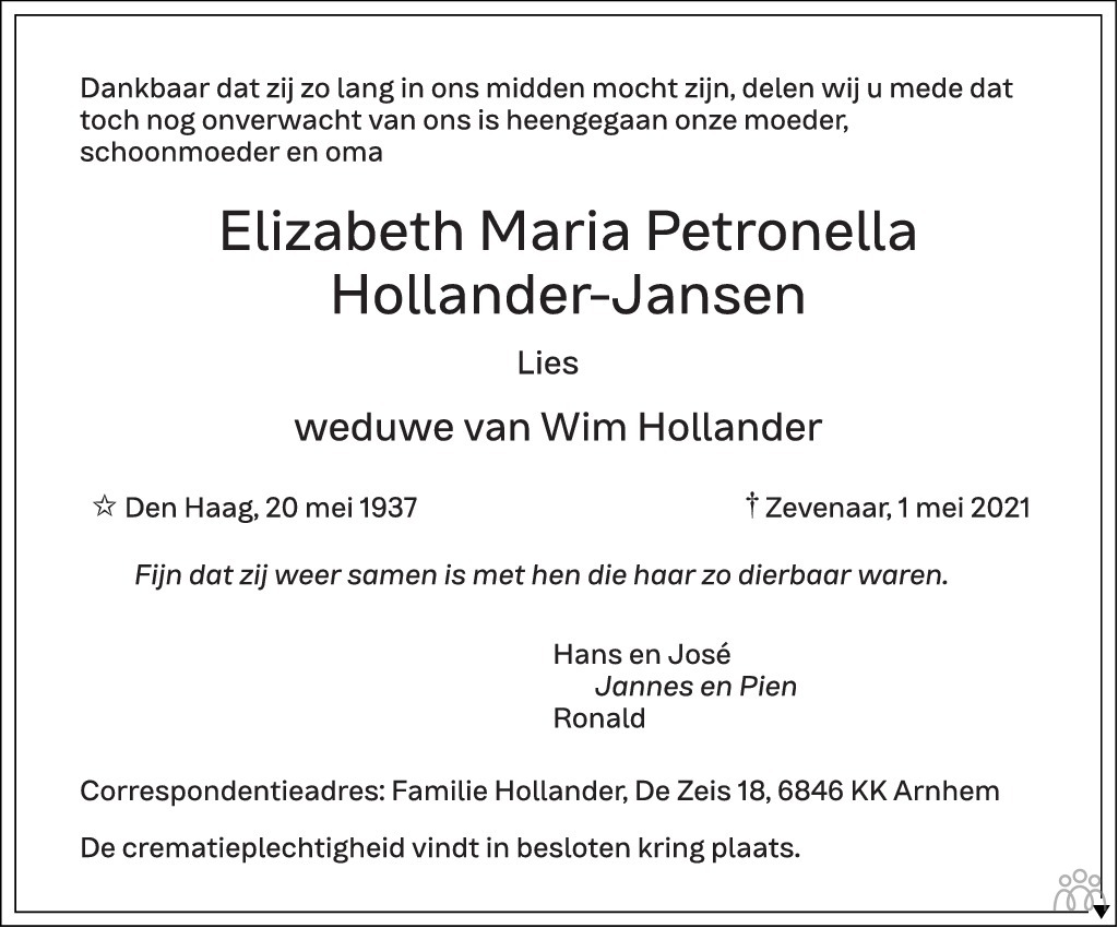 Overlijdensbericht van Elizabeth María Petronella (Lies) Hollander-Jansen in de Gelderlander