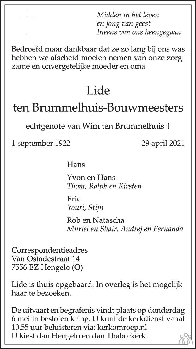 Overlijdensbericht van Lide ten Brummelhuis-Bouwmeesters in Tubantia