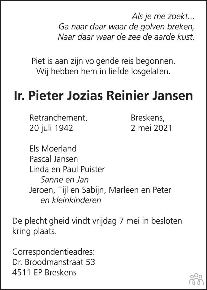 Overlijdensbericht van Pieter Jozias Reinier Jansen in PZC Provinciale Zeeuwse Courant