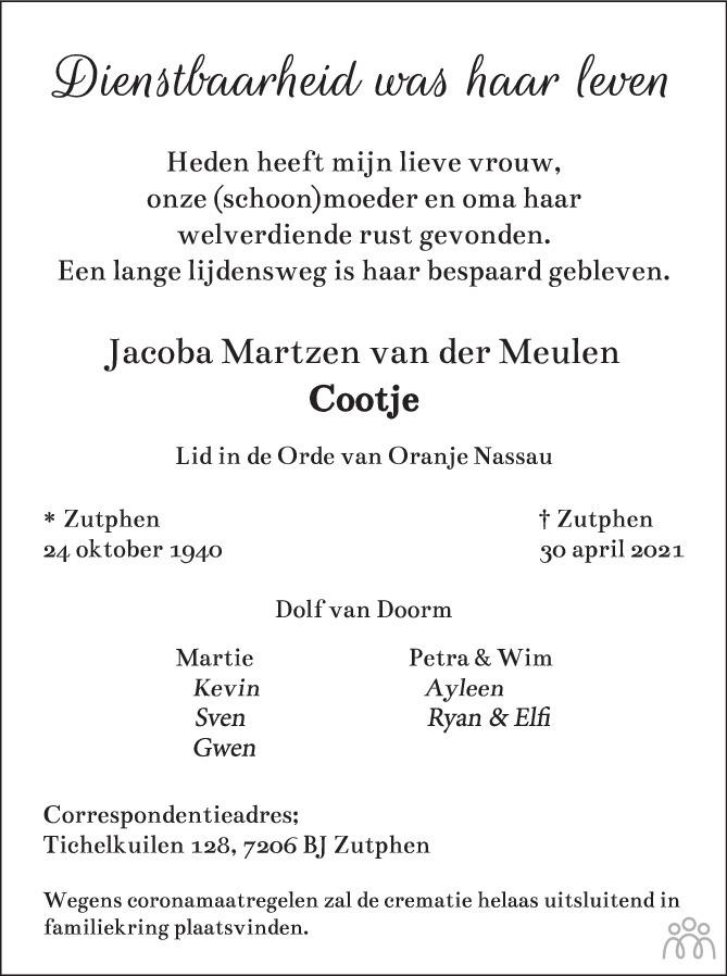 Overlijdensbericht van Jocoba Martzen (Cootje) Doorn-van der Meulen in de Stentor