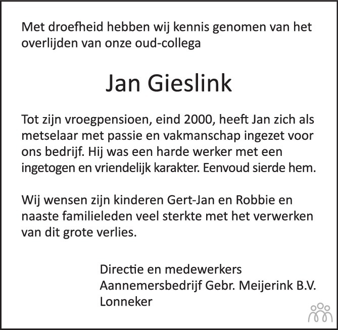 Overlijdensbericht van Johannes Gerardus (Jan) Gieslink in Tubantia