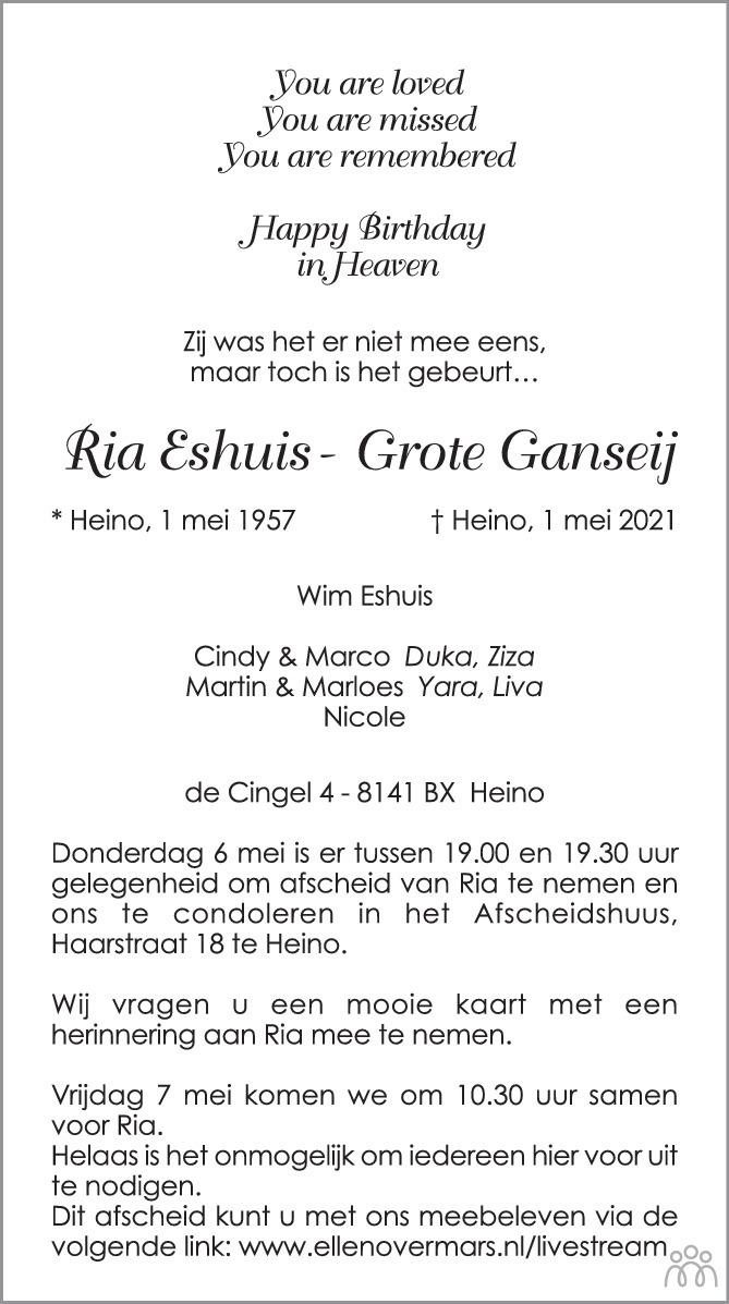 Overlijdensbericht van Ria Eshuis-Grote Ganseij in de Stentor