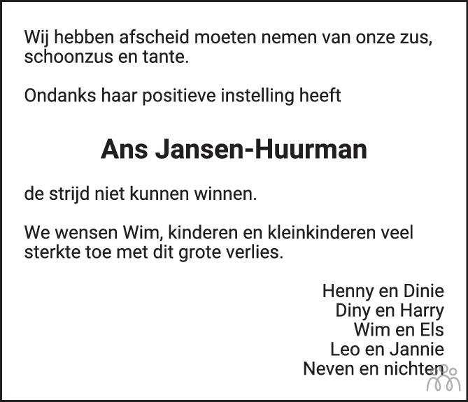 Overlijdensbericht van Ans Jansen-Huurman in de Stentor