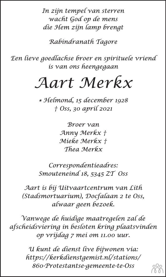 Overlijdensbericht van Aart Merkx in Brabants Dagblad