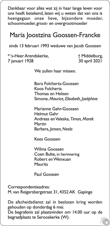 Overlijdensbericht van Maria Joostzina Goossen-Francke in PZC Provinciale Zeeuwse Courant