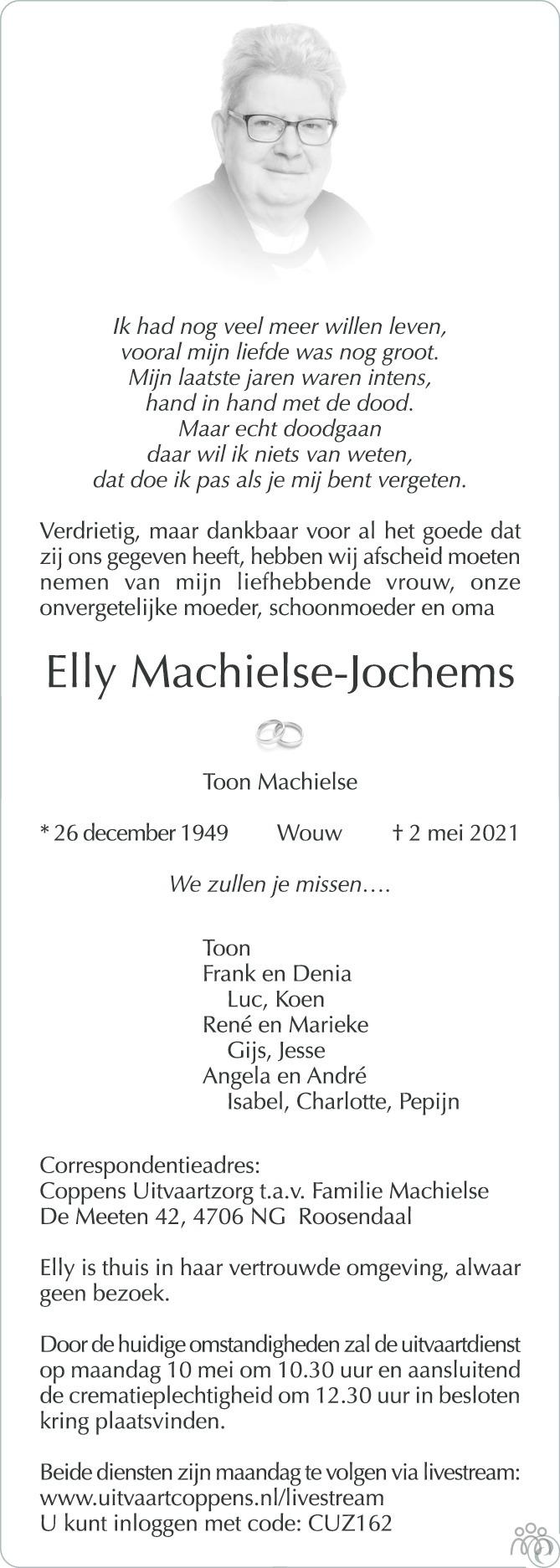 Overlijdensbericht van Elly Machielse-Jochems in BN DeStem