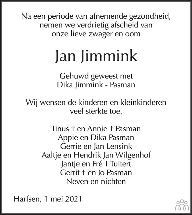 Overlijdensbericht van Jan Jimmink in de Stentor