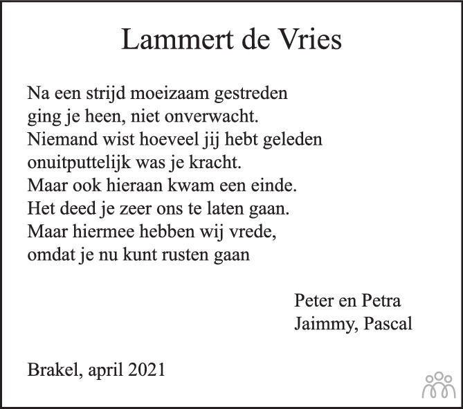 Overlijdensbericht van Lammert Adriaan de Vries in De Toren / Carillon