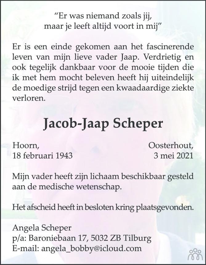 Overlijdensbericht van Jacob-Jaap Scheper in BN DeStem