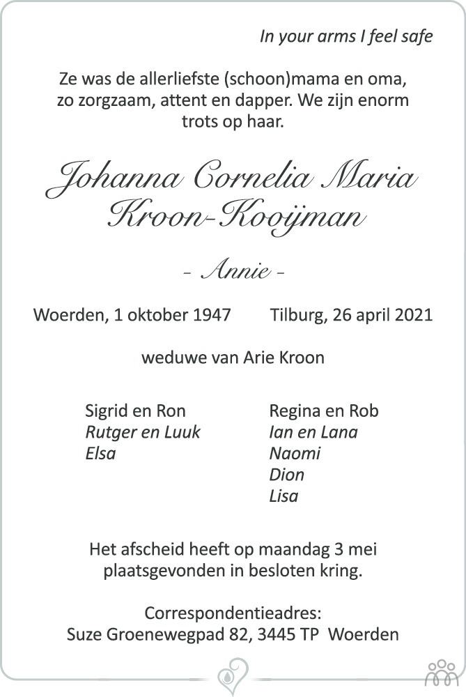 Overlijdensbericht van Johanna Cornelia Maria (Annie) Kroon-Kooijman in Woerdense Courant