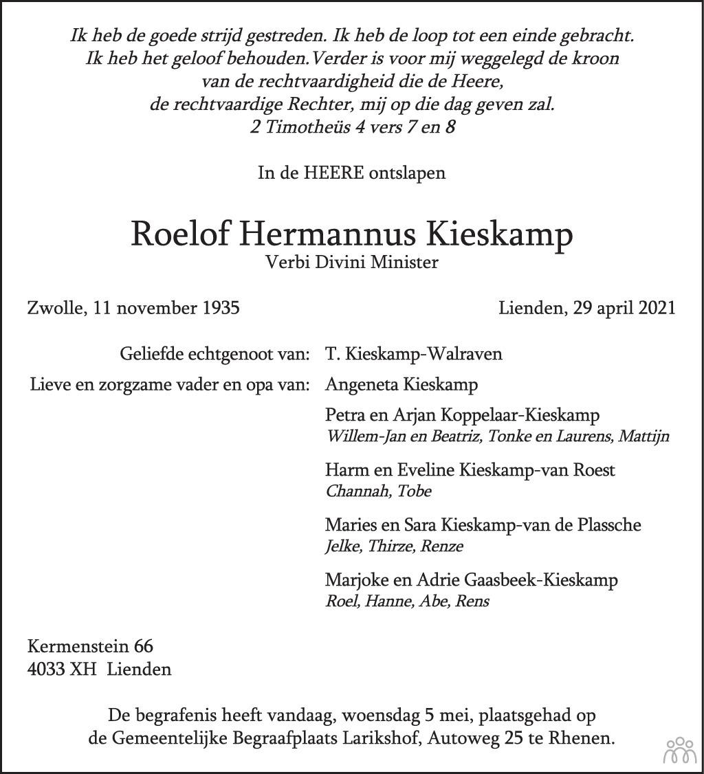 Overlijdensbericht van Roelof Hermannus Kieskamp in Zakengids Combinatie