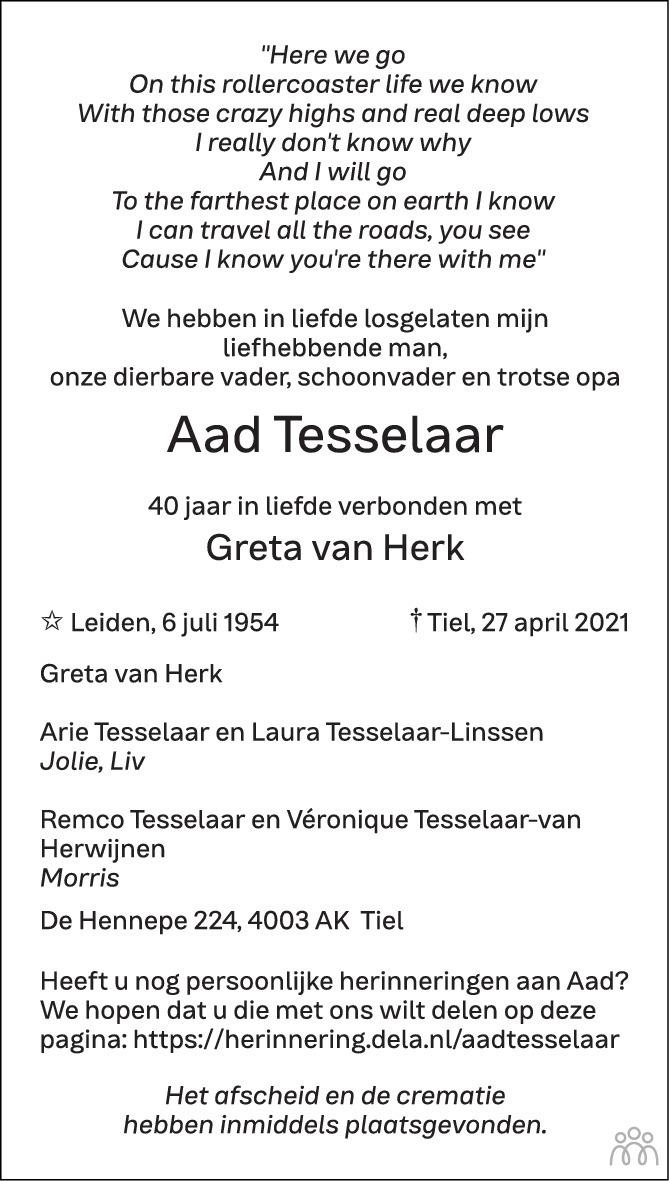 Overlijdensbericht van Aad Tesselaar in Zakengids Combinatie