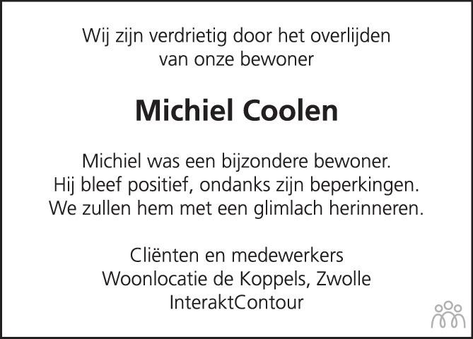 Overlijdensbericht van Michiel Christoffel Coolen in de Stentor