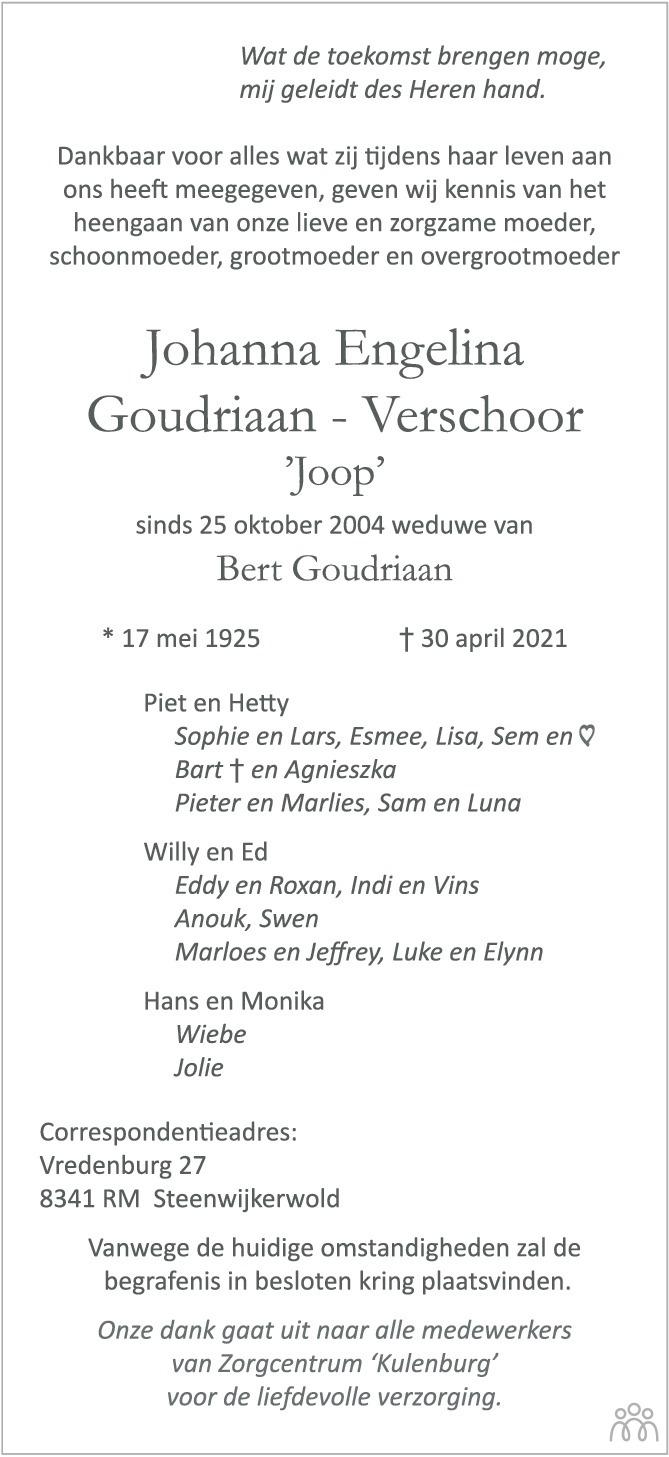 Overlijdensbericht van Johanna Engelina (Joop) Goudriaan-Verschoor in Zakengids Combinatie