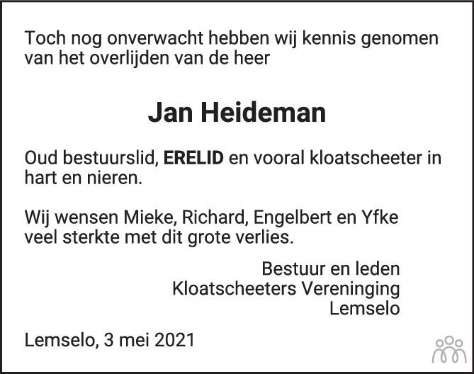 Overlijdensbericht van Jan Heideman in Tubantia