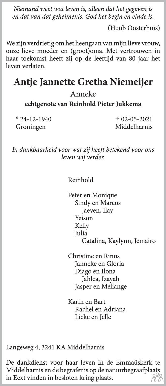 Overlijdensbericht van Antje jannette Gretha (Anneke) Jukkema-Niemeijer in Trouw