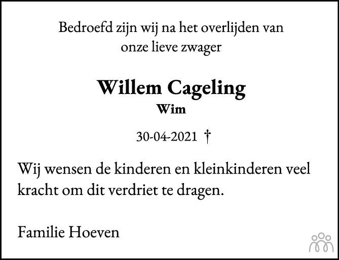 Overlijdensbericht van Willem Cageling in Harderwijker Courant