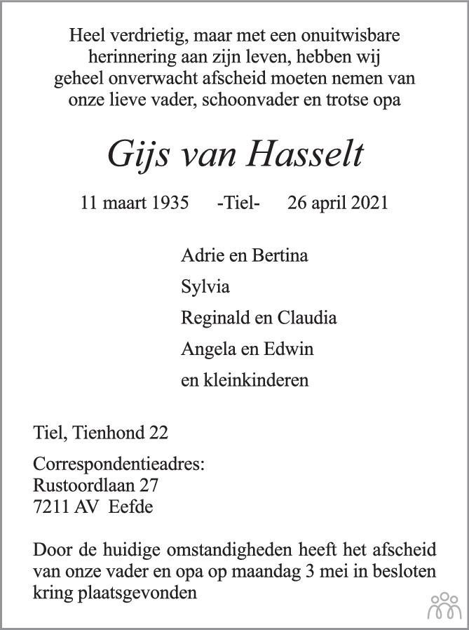 Overlijdensbericht van Gijs van Hasselt in Zakengids Combinatie