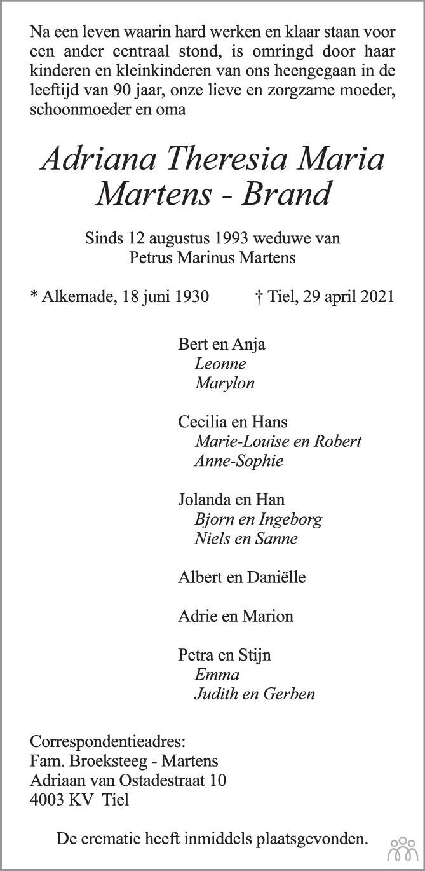 Overlijdensbericht van Adriana Theresia Maria Martens-Brand in Zakengids Combinatie