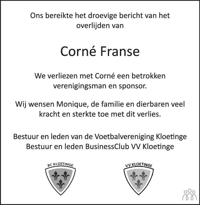 Overlijdensbericht van Corné Franse in PZC Provinciale Zeeuwse Courant