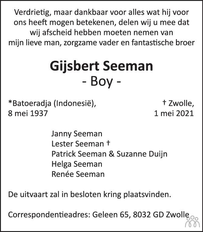 Overlijdensbericht van Gijsbert (Boy) Seeman in de Stentor