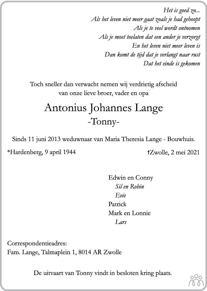 Overlijdensbericht van Antonius Johannes (Tonny) Lange in de Stentor