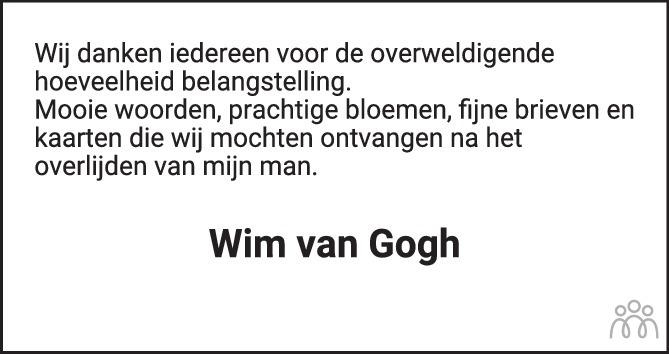 Overlijdensbericht van Wim van Gogh in Brabants Dagblad