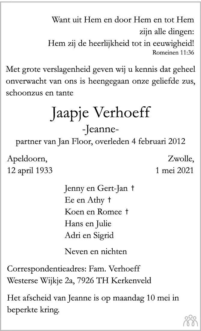 Overlijdensbericht van Jeanne (Jaapje) Verhoeff in Trouw