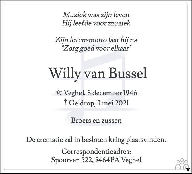 Overlijdensbericht van Willy van Bussel in Eindhovens Dagblad